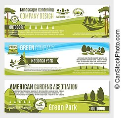 tuinieren, vector, groene, ontwerp, banieren, of, landscape