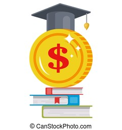 tuition fees. image of a coin in a hat. high-paying job of...