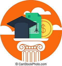 Education concept, research grant and certificate, vector illustration