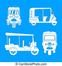 Tuk rickshaw Thailand icons set, simple style - Tuk rickshaw...