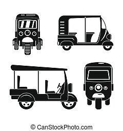 Tuk rickshaw Thailand icons set, simple style