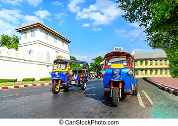 tuk, traditionelle , blaues, thailändisch, bangkok, tuk, ...