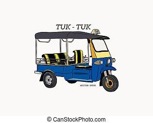 Tuk Tuk in Thailand vector, hand draw sketch vector.