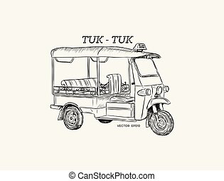 Tuk Tuk in Thailand vector.