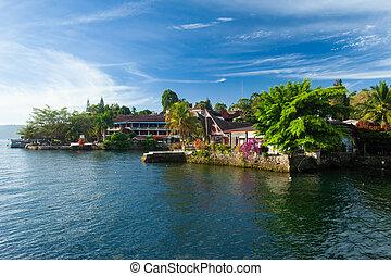 Tuk Tuk, Samosir, Lake Toba, Sumatra - Houses and hotels on...