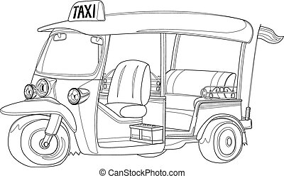 tuk-tuk, tailandia, taxi, en, negro y blanco, contorno