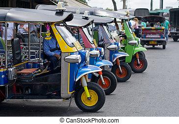 tuk, tuk, taxis, dans, bangkok