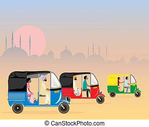 tuk tuk traffic - an illustration of three colorful asian...