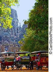 Tuk-tuks in Angkor Wat - Angkor, Cambodia, circa January...