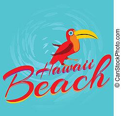 tukan, konst, vektor, strand, hawaii