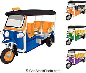 TukTuk Car - Vector TukTuk color in Thailand