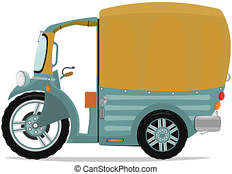 Tuktuk - Funny cartoon tuk-tuk rickshaw. Vector...