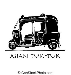 Tuktuk, motorbike asian taxi. Sketch for your design. Vector...