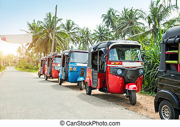 Tuktuk taxi on road of Sri Lanka Ceylon travel car - Tuktuk...
