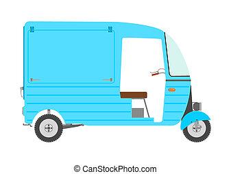 Tuktuk - Three wheeled motor rickshaw. Place for any text