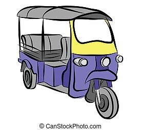 Tuktuk vector sketch - Vector sketch 3 wheels taxi of...
