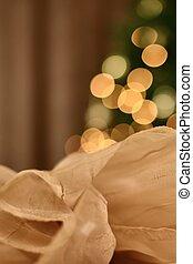 tul, vertical, luces, guirnalda, brillante, plano de fondo, festivo, confuso, cloth., grande, de lado