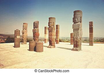 tula, ősi, mexikó, ellen-, -, házhely, allende, régészeti, ...