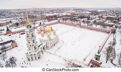 Tula Kremlin in winter aerial view 05.01.2017