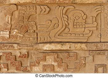 tula, mesoamerican, mexikó, házhely., régészeti, megkönnyebbülés