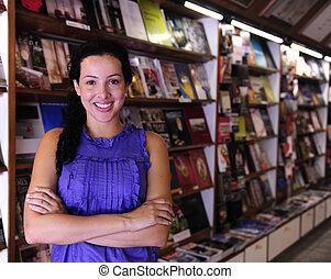 tulajdonos, könyvesbolt, boldog