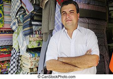 tulajdonos, kiskereskedelem készlet, portait