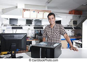 tulajdonos, rendbehozás, computer készlet, boldog