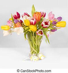 tulipánok, és, easter ikra