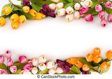 tulipánok, keret, elkészített, színpompás