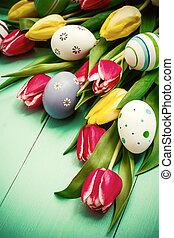 tulipánok, noha, színes, easter ikra