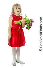 tulip., 女の子, 隔離しなさい, 白い背景