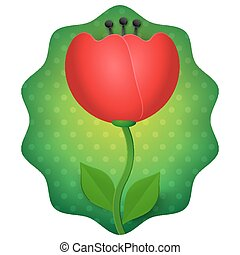 Tulip 3d flower isolated on green dotted background vector illustration.