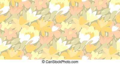 Tulip and daffodil flower seamless pattern