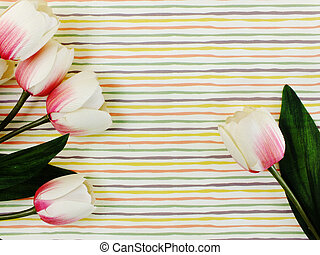 tulip artificial flower in the box with space copy background