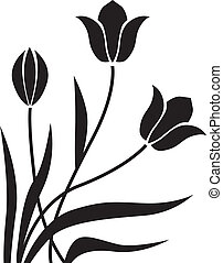 Black tulips congratulatory decorative background