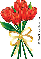 Tulip bouquet with bow