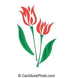 Tulip color flat icon, vector
