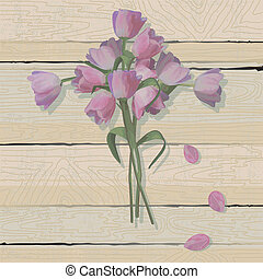 Tulip Easter Cross on a weathered wood background