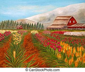 Original painting of tulip farm. OIls.