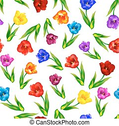Tulip, floral background, seamless pattern. Vector illustration.
