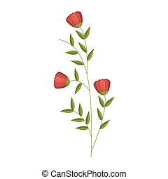 tulip floral icon design with leaves