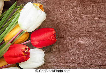tulip flower bouquet on weed textur