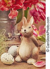 Tulip flowers and rabbit