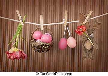 Tulip flowers and rabbit on a brown background