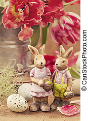 Tulip flowers and rabbits