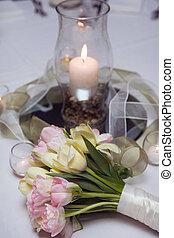 Tulip flowers bouquet, decoration on the wedding reception
