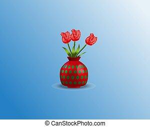 Tulip flowers in vase pink on blue background. Vector illustration