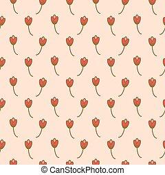 Tulip flowers pink floral romantic art pattern seamless vector.