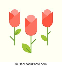 tulip flowers solated on white background vector illustration