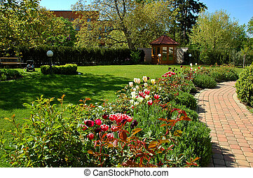 Tulip garden - Garden with tulips, gazebo and path